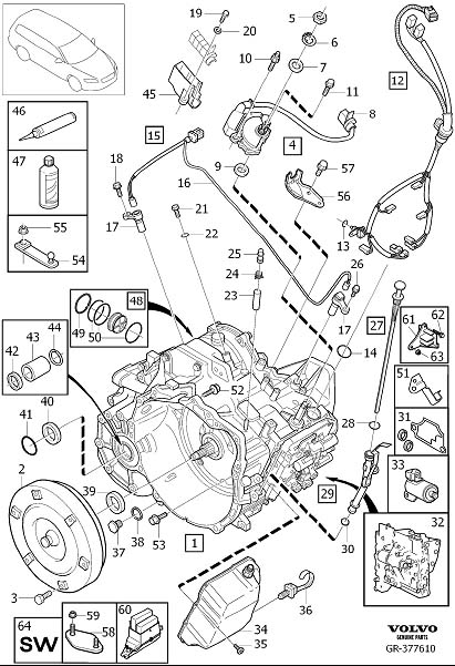 2005 Volvo XC90 Automatic Transmission Output Shaft Seal