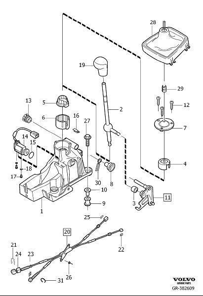 2005 Volvo V70 Gear Shift Lever Knob. Gear Selector