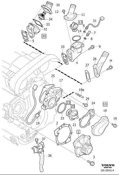 2003 Volvo S80 Cooling System Bypass Line Adapter. NIPPLE
