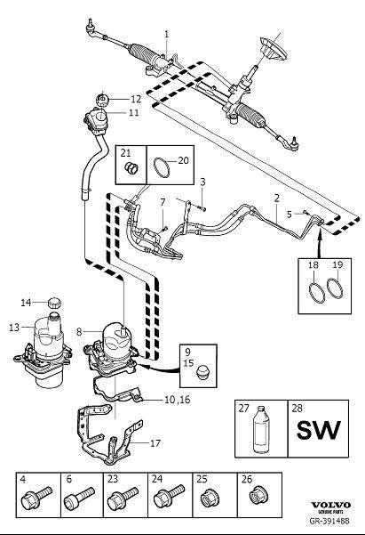 Volvo V50 Servo pump, exch. Variant, Code, Equipment
