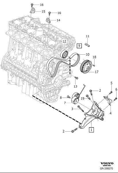 2013 Volvo S60 Guide Pin. Auxiliary aggregate Suspension