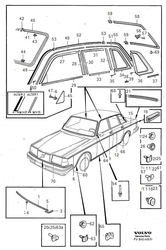 Volvo 240 Joint sheet. Genuine Classic Part. Trim
