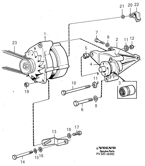 1986 Volvo 740 Flange Screw. Alternator. Generator (ac