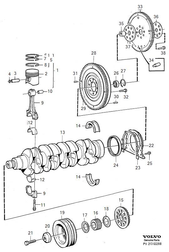 1990 Volvo 740 2.3l Fuel Injected Engine Crankshaft Seal