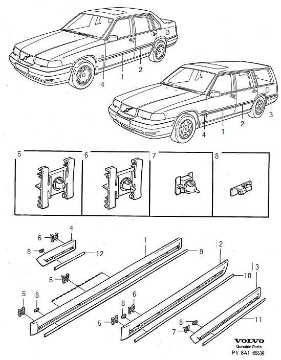 Volvo S90 Clip. Door. EXEC. Glass. Trim mouldings. (Front