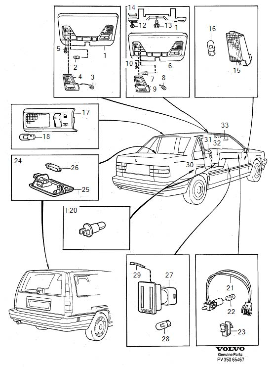 1993 Volvo 850 Interior lamp. Genuine Classic Part