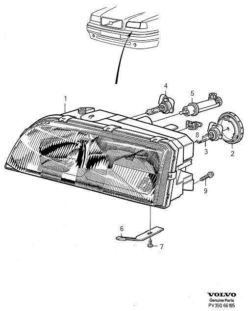 1994 Volvo 850 Headlights. Headlamps. (Right). System