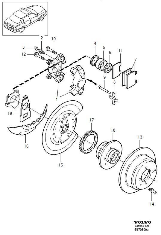 Volvo S70 Disc Brake Caliper (Left, Rear). Wheel, Calipers