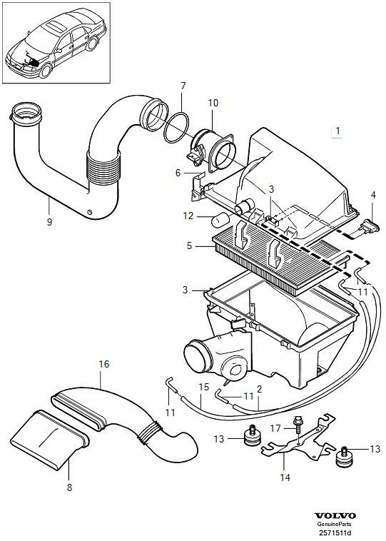 2005 Volvo Engine Air Intake Hose. Air Inlet. Air Filter