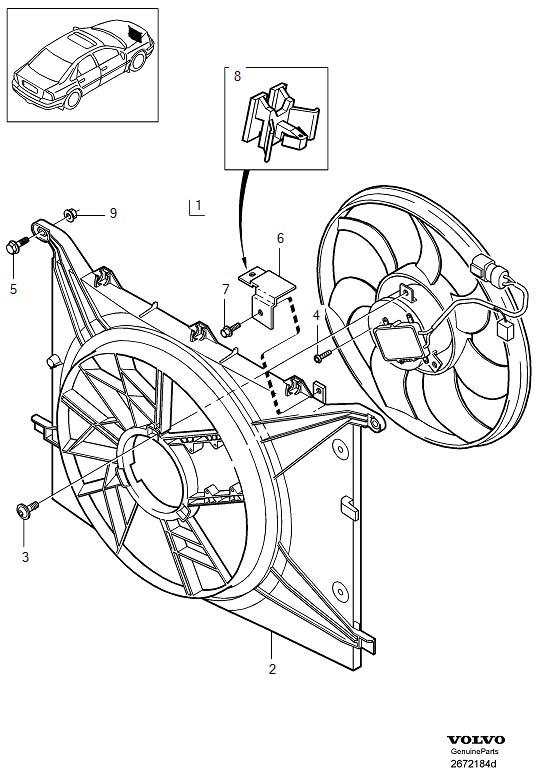 2001 Volvo S80 Engine Cooling Fan Motor. ELECTRICAL FAN