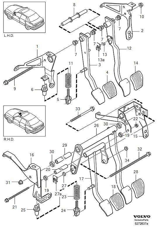 2000 Volvo V70 Helper spring. Brake, Pedal, Clutch