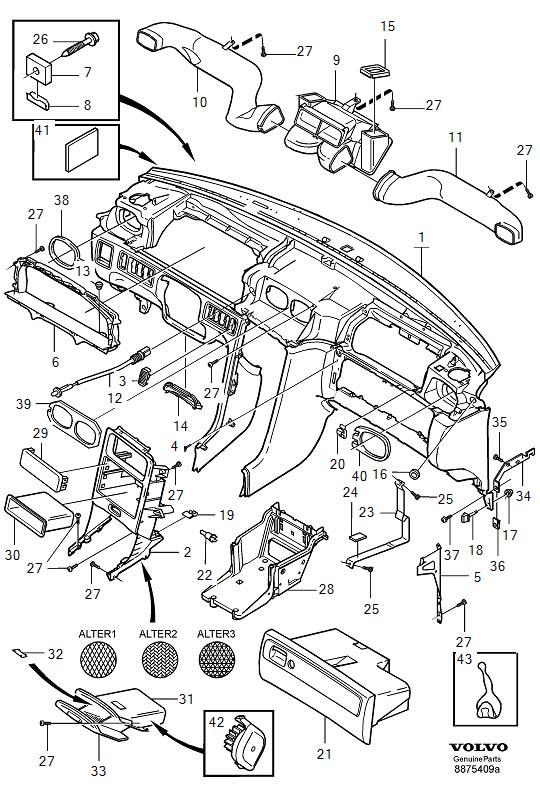 Volvo C70 Instrument panel. Dashboard, Hylse, Granit