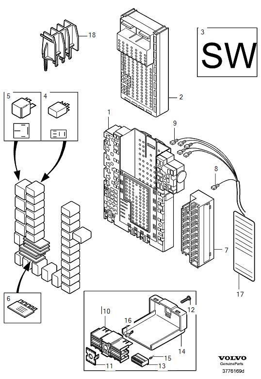 2003 Volvo S60 Electronics box. Rear, REM, Module