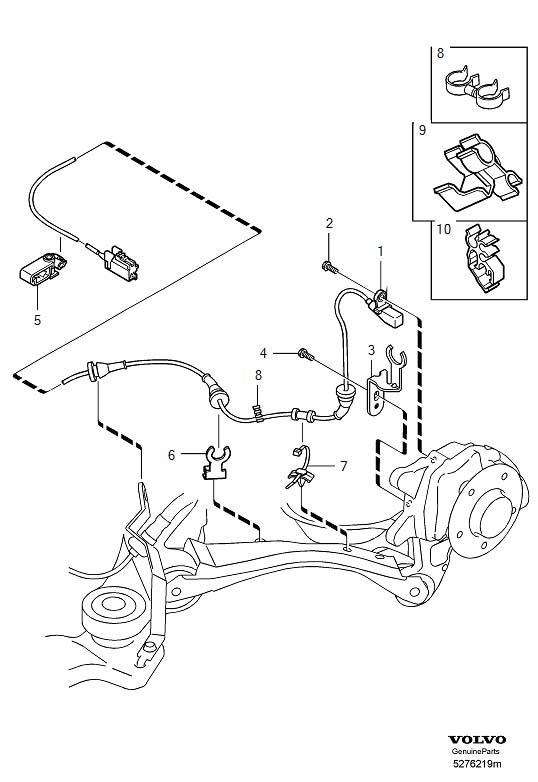 2001 Volvo V70 Retainer. ABS Sensor. (Rear). System, Brake