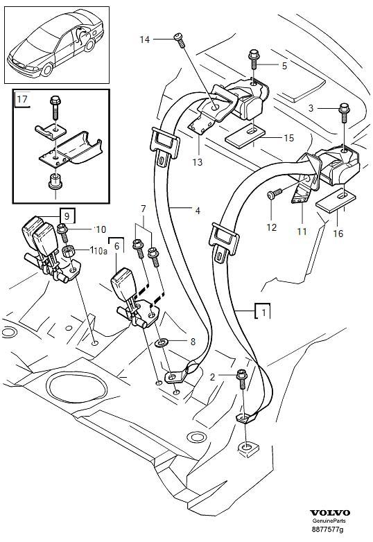 2000 Volvo S40 Seat Belt Lap and Shoulder Belt (Right
