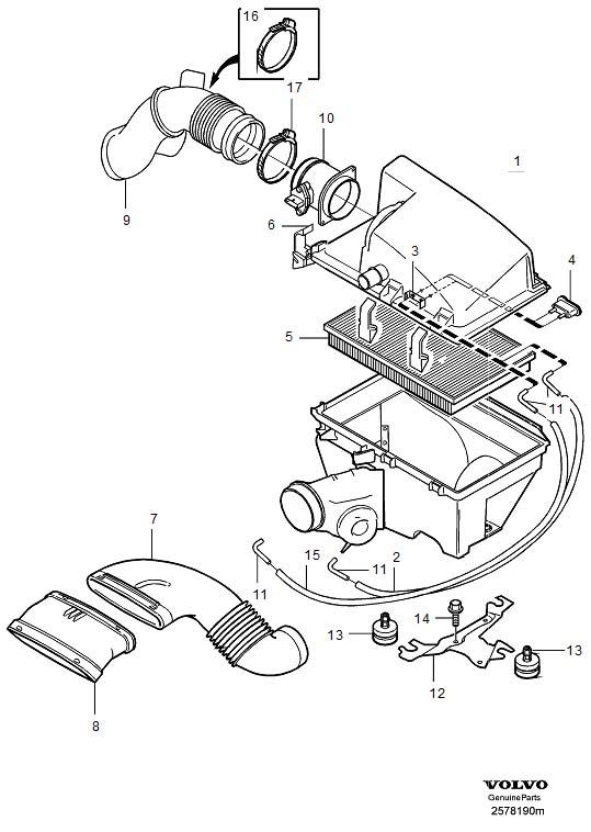 2004 Volvo Engine Air Intake Hose. Air Inlet. Air Filter