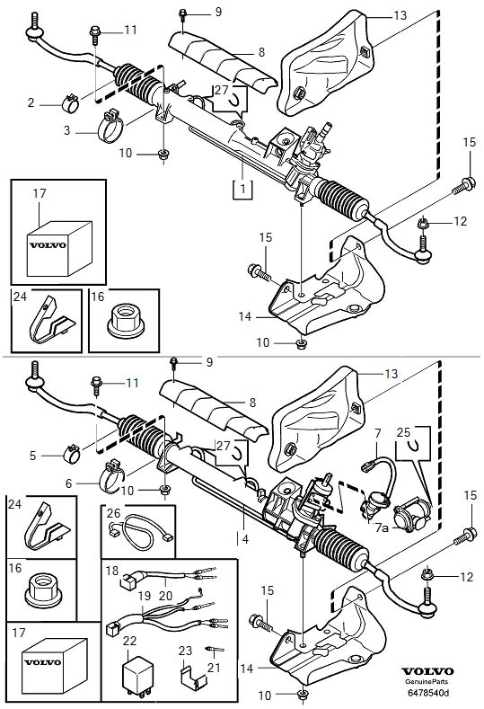 2003 Volvo S80 Steering gear, exch. PCS, Order, Vehicles
