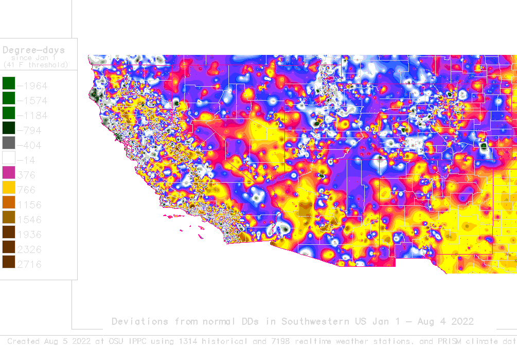 The US Southwest 41 F Degree Day Deviation Map