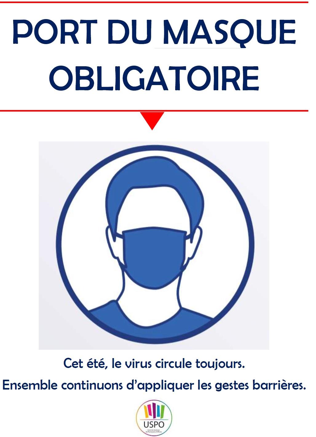 """Panneau Port Du Masque Obligatoire : panneau, masque, obligatoire, Affiche, """"Port, Masque, Obligatoire"""",, Protection, L'équipe,, Nettoyage, Locaux, (rappel)"""