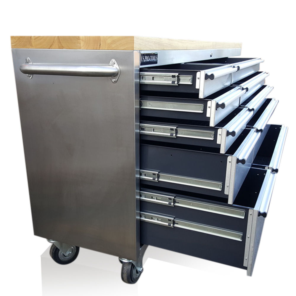 STAINLESS STEEL TOOL BOX CHEST WITH CUPBOARD  US PRO