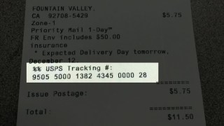 Where is the Tracking Number on USPS Receipt