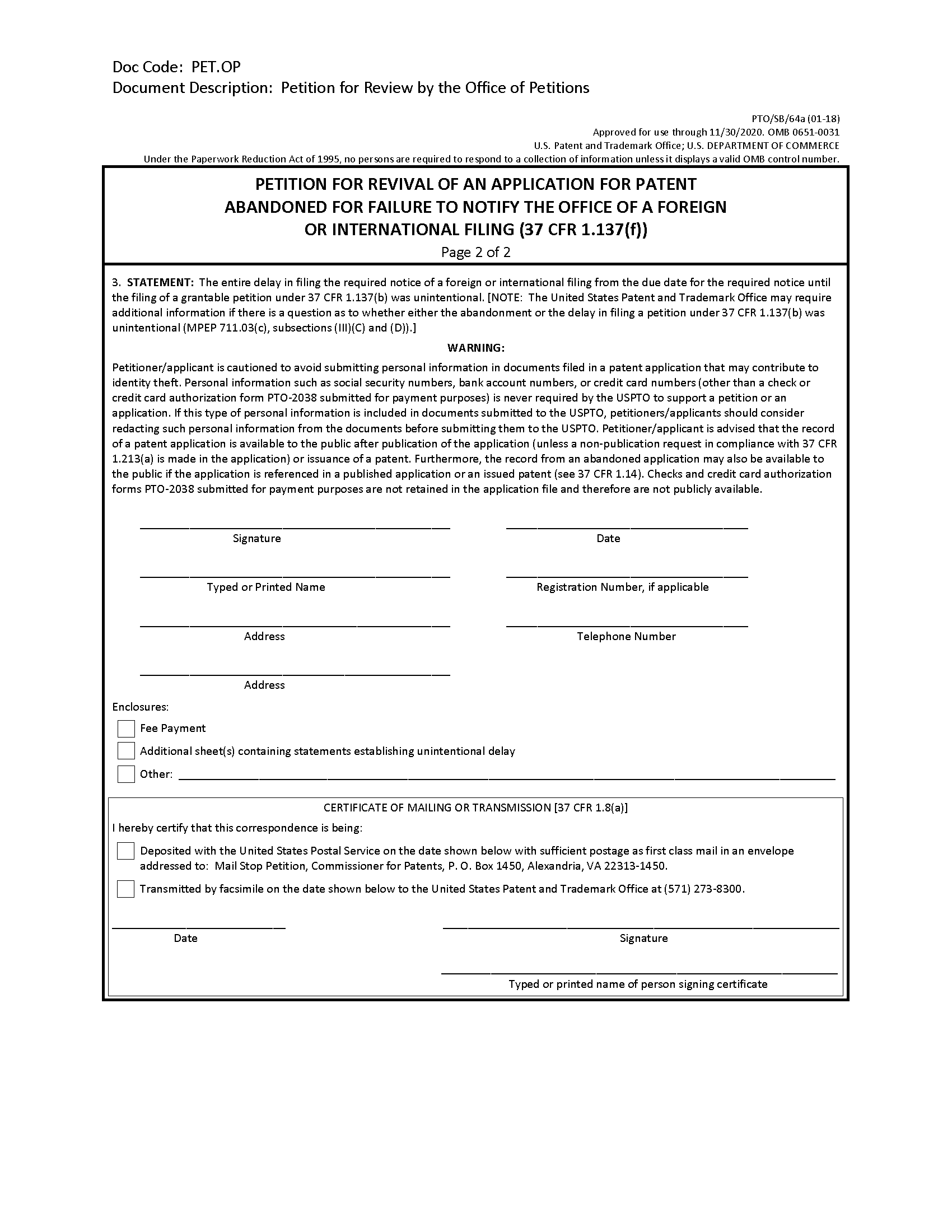 Compliance Attorney Cover Letter 711 Abandonment Of Patent Application