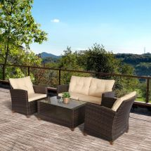 outsunny 4 pcs outdoor patio furniture