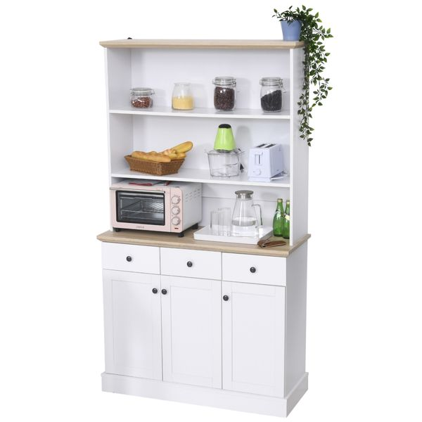 Homcom 71 Kitchen Pantry Buffet Server Hutch Storage Sideboard Bookcase With Drawers Cabinets For Living
