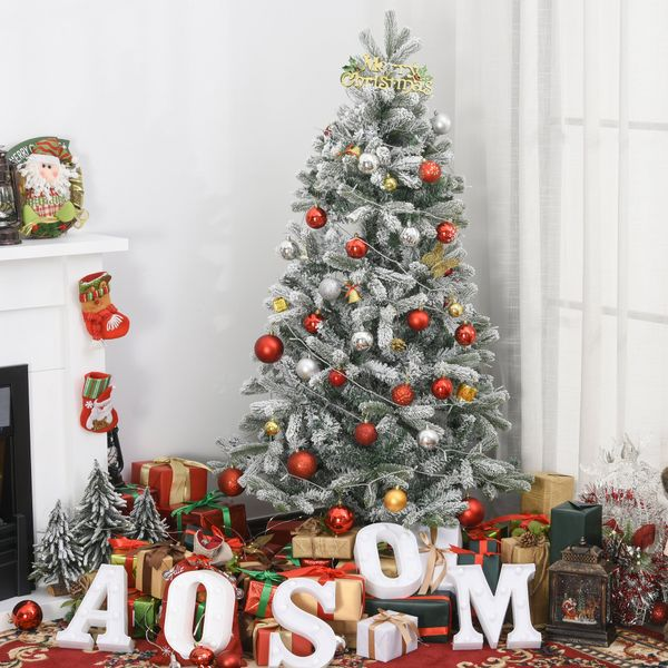 Homcom Homcm 5ft Artificial Snow Flocked Tree Holiday Home Indoor Christmas Decoration With Metal Feet Green