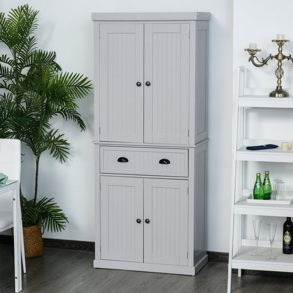 Homcom Free Standing Kitchen Pantry Traditional Kitchen Pantry Cabinet Cupboard With Doors And Shelves Adjustable Shelving Grey Wooden Organizer Home Furniture Pantry Buffet Aosom