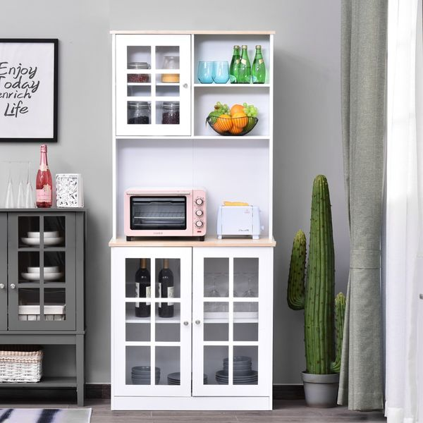 Homcom Free Standing Kitchen Pantry 72 Modern Kitchen Solid Storage Kitchen Cabinet Pantry Large Sturdy Cupboard With Sleek Minimal Design Ample Storage Space White Pantry Buffet Aosom