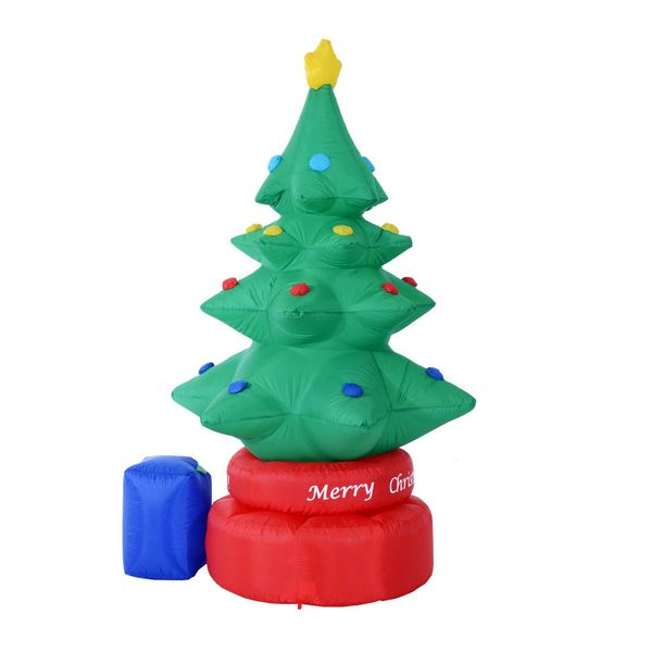 Homcom 7 Foot Tall Animated Inflatable Rotating Christmas Tree Outdoor Lawn Decoration Christmas Decorations Aosom