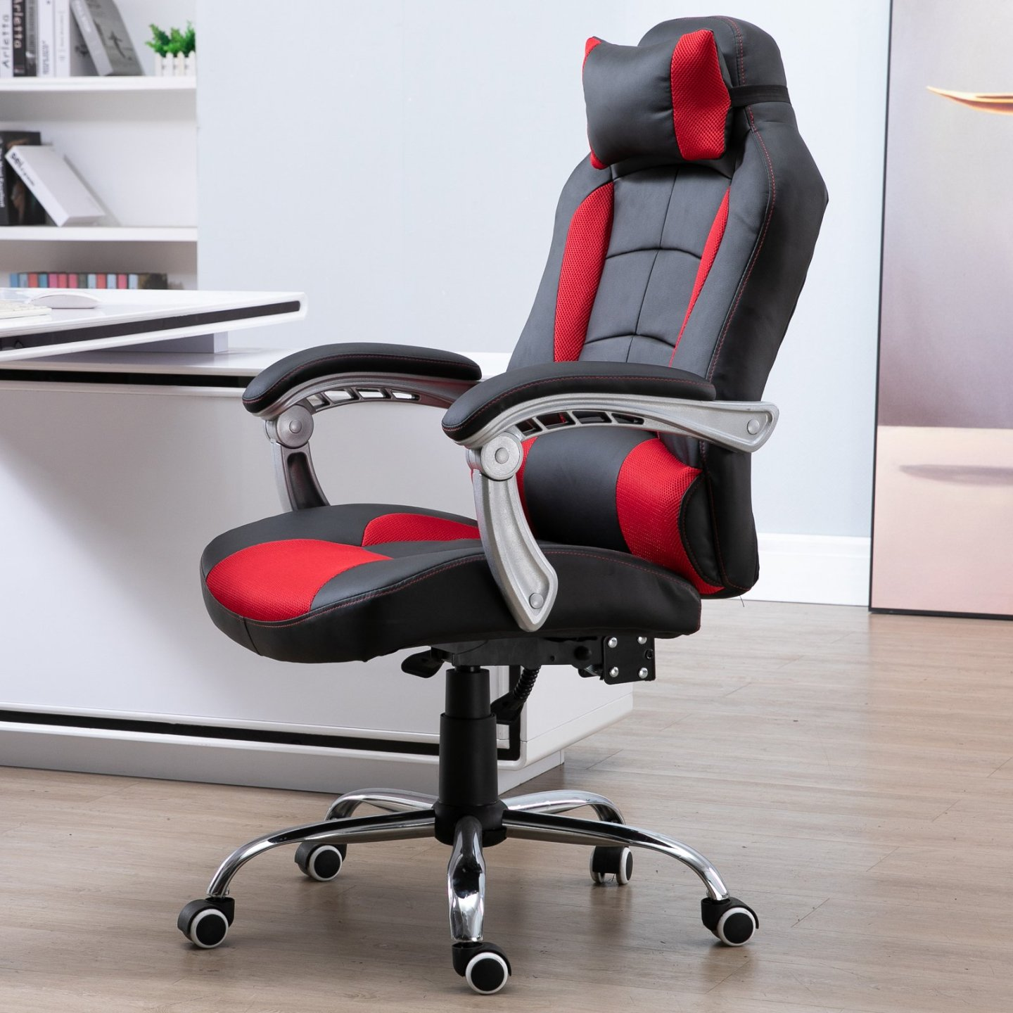 HOMCOM High Back Executive Office Chair Racing Executive Gaming Chair Adjustable Recliner with Removable Headrest Pillow Home Office Black / Red