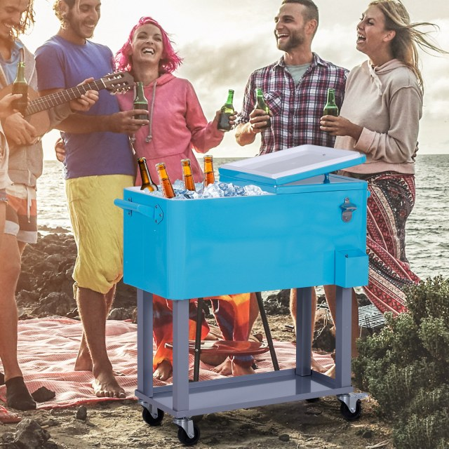 Outsunny 80 Quart Rolling Cooler Cart with Bottle Opener Catch Tray and Drain Plug