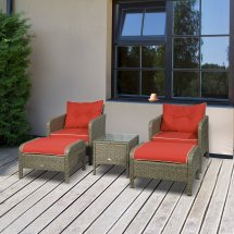 outsunny 5 piece rattan wicker