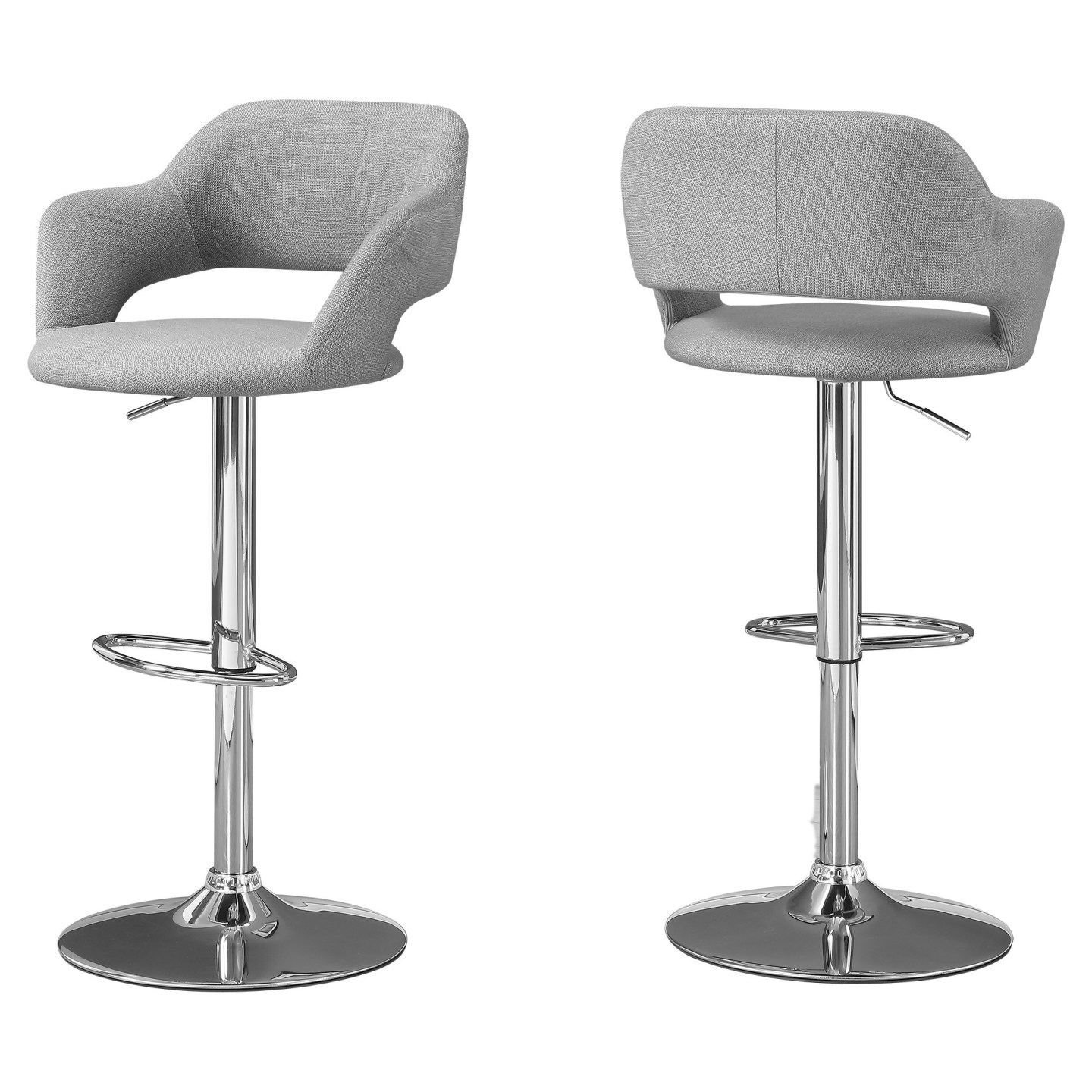 Monarch Contemporary Linen Curved Seat Back Chrome Base Hydraulic Lift Swivel Barstool Chair - Grey Finish