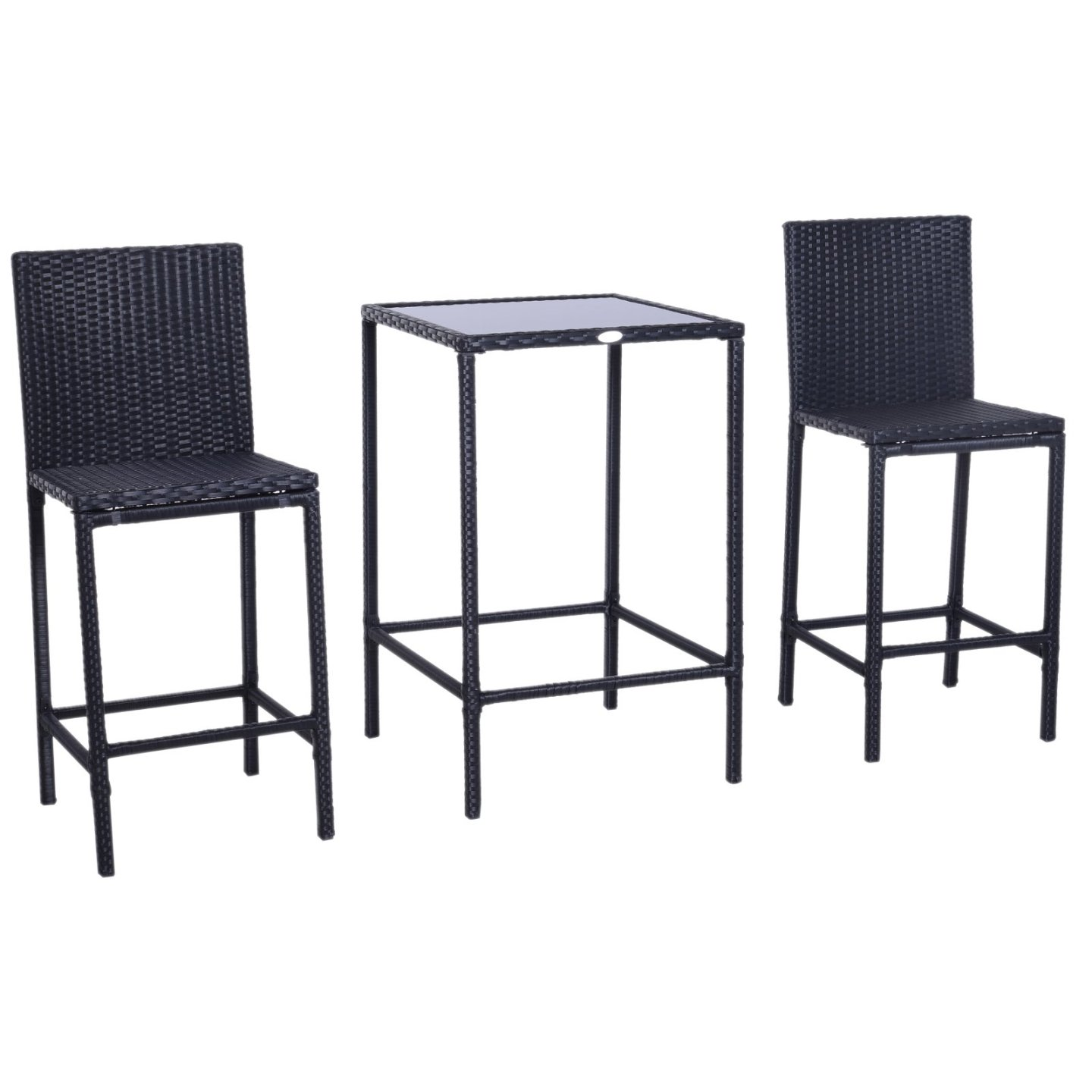 Outsunny 3pc Outdoor Rattan Wicker Patio Bistro Dining Set