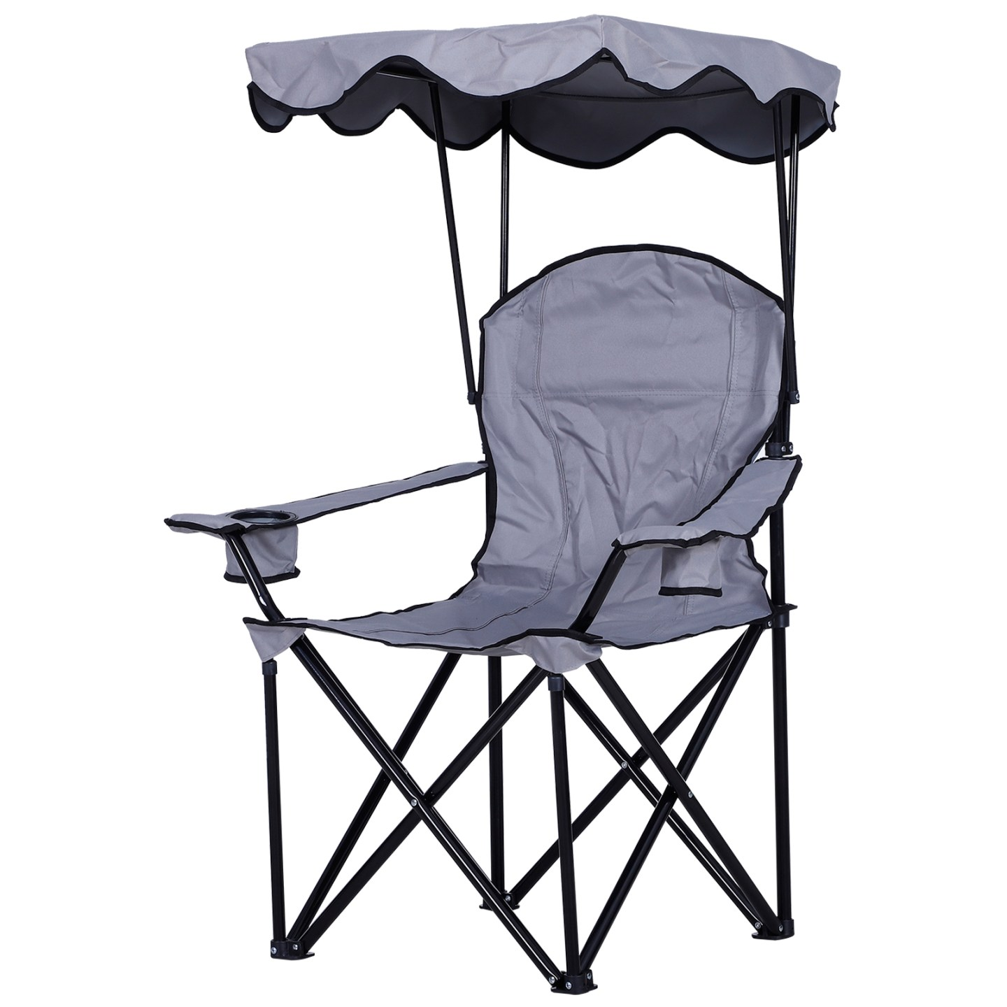 Outsunny Oxford Sports Folding Metal Camping Chair with an Overhead Shade Canopy & an Included Side Cup Holder Grey