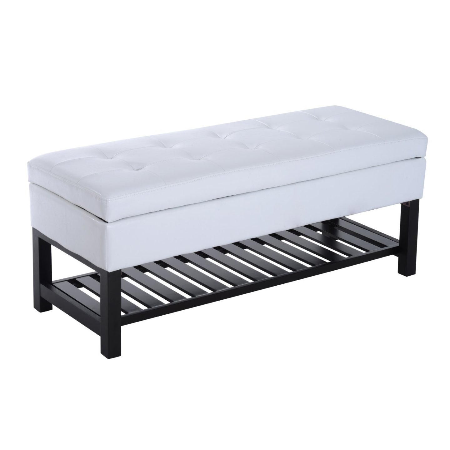 HomCom 44? PU Leather Tufted Shoe Rack Ottoman Storage Bench - White