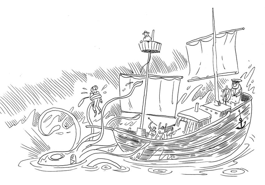 Ted May Comics Junk Drawer: A Kraken li'l drawring