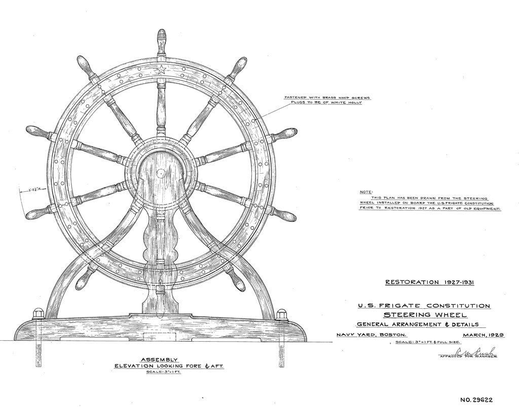 uss constitution rigging diagram heil trailer wiring wheel of fortune museum detail plan 29622 u s frigate steering march 1929 courtesy naval history heritage command detachment boston