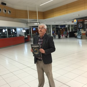 Where in the world? At bustling Adelaide airport, surrounded by the usual well-wishers