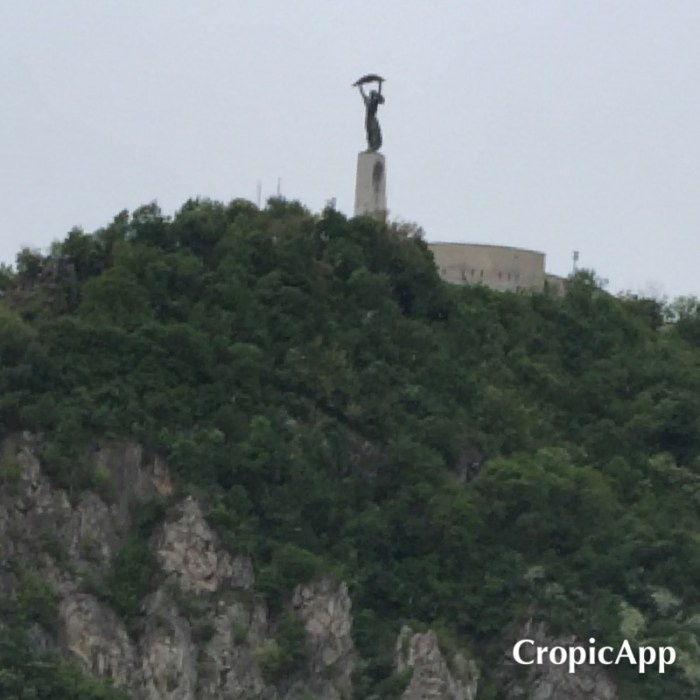 The liberty statue, Buda, viewed from over the river. Known to locals as the bottle opener