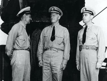 General Nimitz on board the USS San Francisco