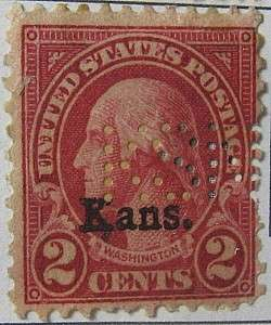 1929 Washington 2c Kans Overprint