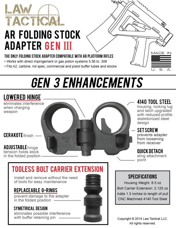 Law Tactical AR Folding Stock Adapter Gen3
