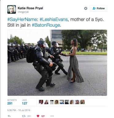 cops SayHerName LeshiaEvans mother of a 5yo Still in jail in Baton Rouge