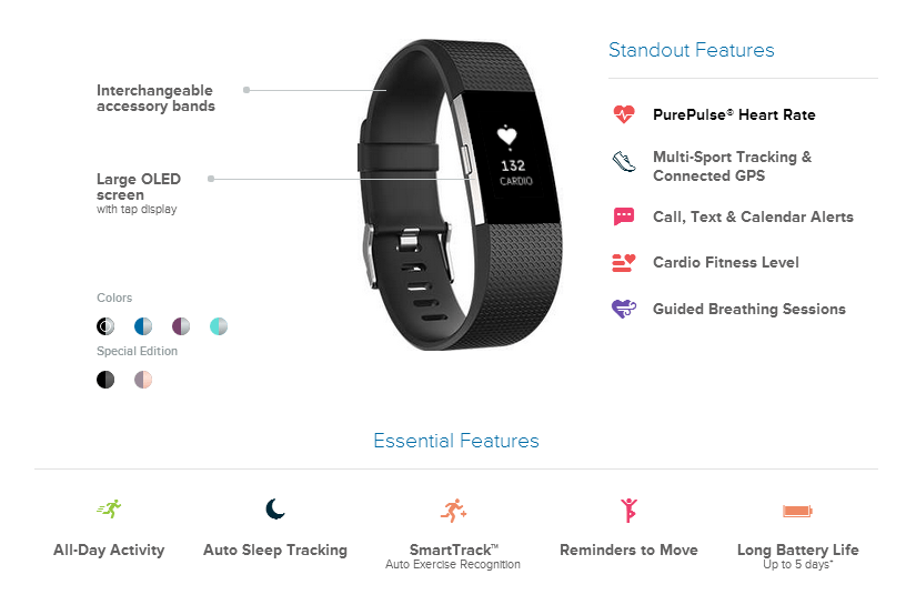 fitbit charge 2 features