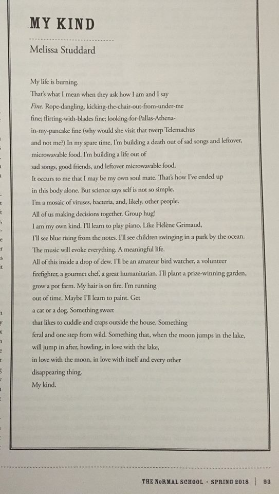 Melissa Studdards two poems in the new issue of The Normal School