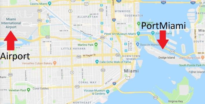How To Get From Miami Airport (Mia) To Miami's Cruise Port regarding Miami Florida Cruise Port Map
